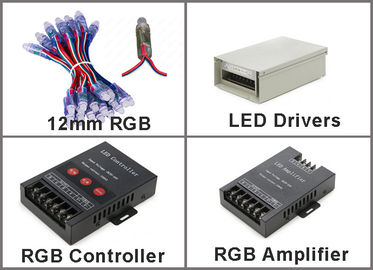 pixel de 5V 12mm RVB LED sans signes de publicité extérieurs flexibles des pixels 50pcs/string 0.3W DC5V IP67 LED de ficelle d'IC